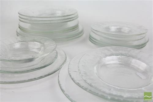 Pukeberg Glass Dinner Service for 4 inc Large, Entree, and Side Plates with Soup and Dessert Bowls (20 pieces)