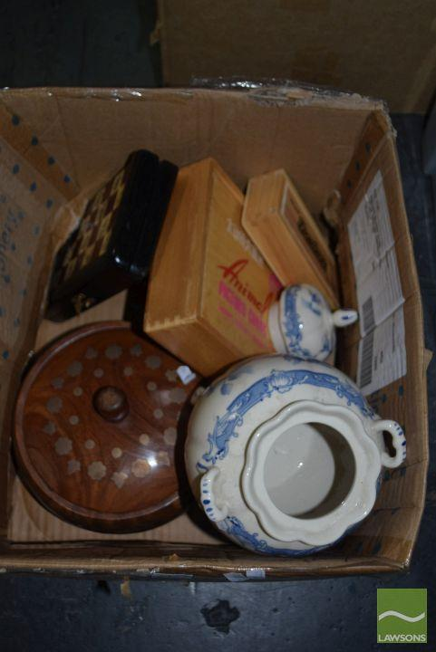 Box of Sundries incl Wooden and Ceramic pots, wooden boxes of games etc