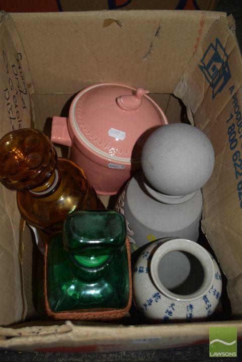 Sundries incl Robert Gordon Australian pot, coloured glass decanters etc
