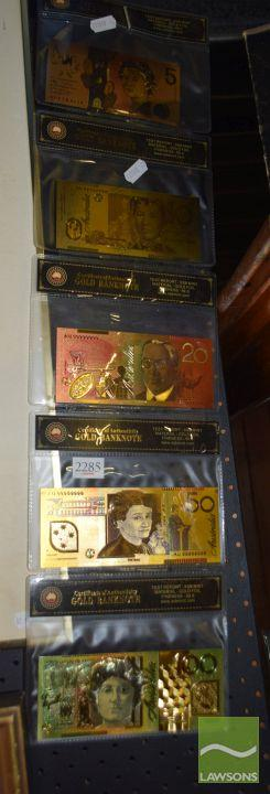 Set of 5 Gold Foil Australian Currency Replicas