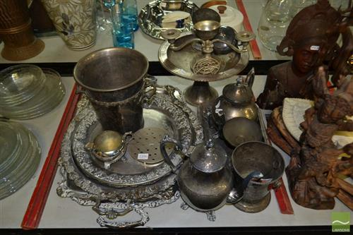 Group of Silver Plated Wares incl Trays, Tea & Coffee Set