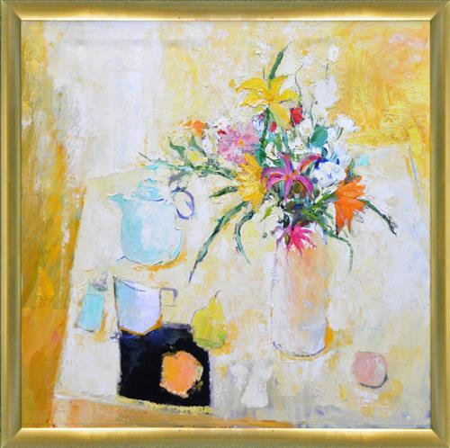Sheila White (XX) - Summer Light With Flowers 76 x 76cm
