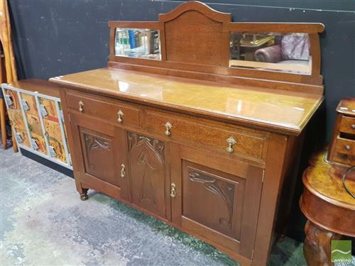 Maple Mirrored Back Sideboard