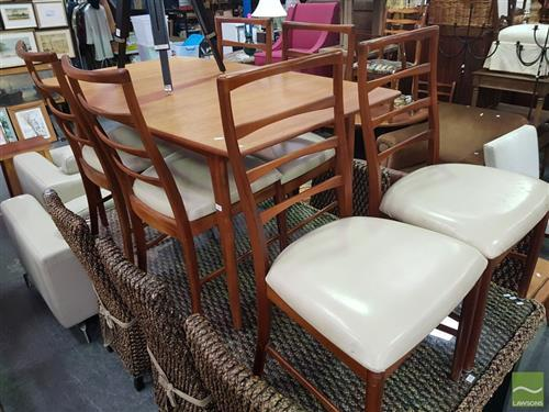 Retro Extension Dining Table with 6 Chairs