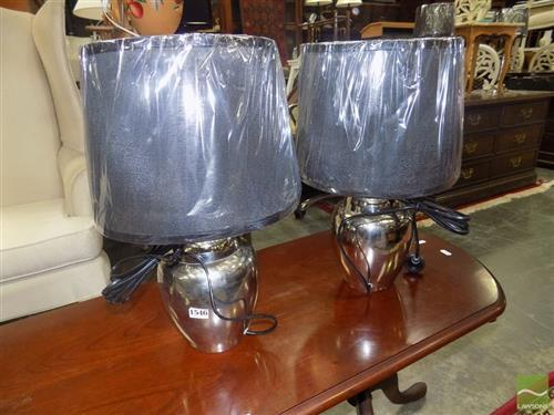 Pair of Chrome Bulb Shape Table Lamps (2142)