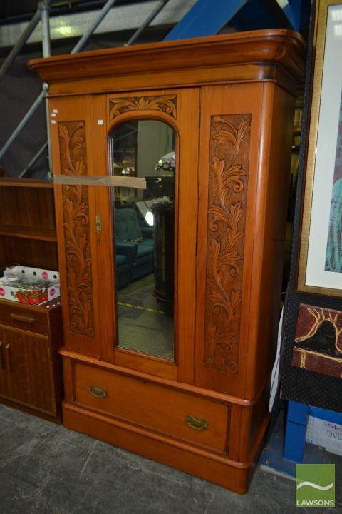 Victorian Pine Mirrored Wardrobe