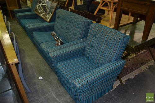 Retro Four Piece Lounge Setting incl. Pair of Two Seaters & Pair of Armchairs