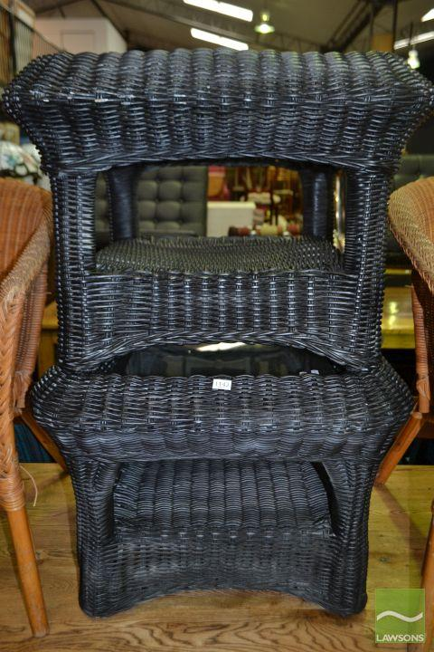 Pair of Black Wicker Side Tables with Glass Top