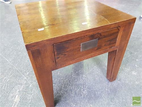 Single Drawer Stained Oak Lamp Table