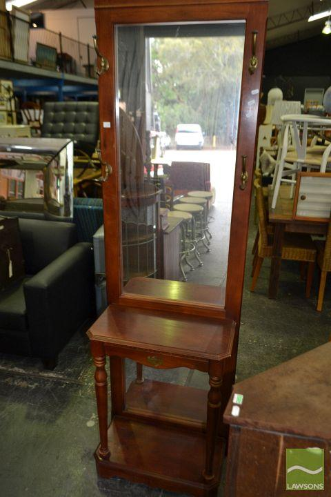 Timber Mirrored Back Hall Stand