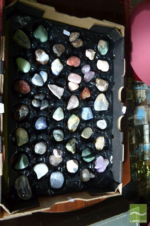 Box of Polished Semi Precious Polished Gems