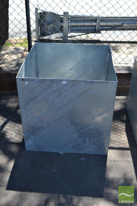 A Set of Three Graduated Large Galvanised Square Form Planters