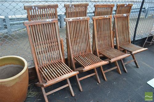 Set of 8 Folding Timber Chairs