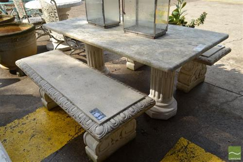 Concrete Three Piece Outdoor Setting incl. Twin Pedestal Table & Pair of Twin Pedestal Two Seater Benches
