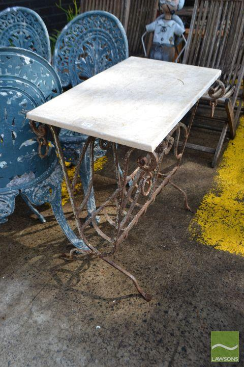 Marble Top Outdoor Side Table on Iron Base