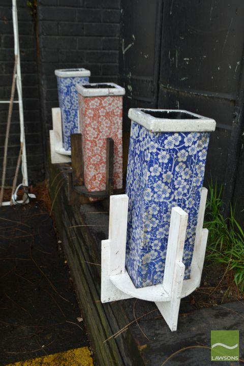 Pair of Crackle Glazed Planters on Stand & Matching Example (3)