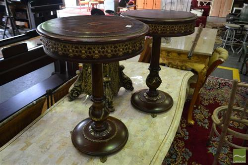 Pair of Inlaid Side Tables with Ormalu Mounts