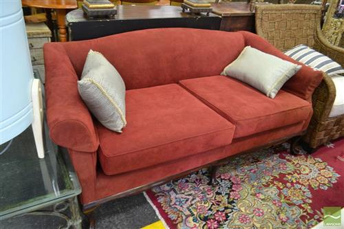 Burgundy Upholstered Two Seater Sofa with Cabriole Legs to Front