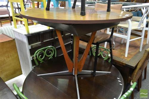 Round Timber Top Extension Table