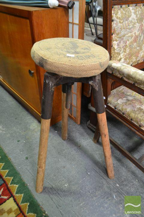 Pair Industrial Style Bar Stools With Heshan Upolstery