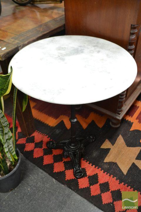 Coloured Marble Top Table on Cast Iron Base (Dia 60cm)