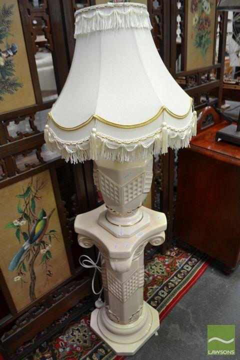 Ceramic Base Lamp with Gilt Trim on Similar Pedestal Base