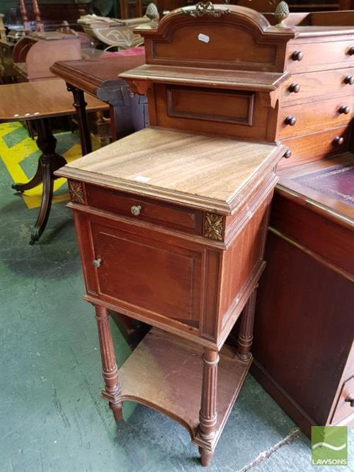 Louis XVI Style French Walnut Bedside Cabinet, with brown onyx top, a drawer, a door & lower shelf