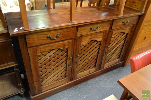 Timber Sideboard with Three Drawers & Lattice Doors