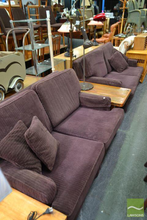 Pair of Purple Fabric Lounges