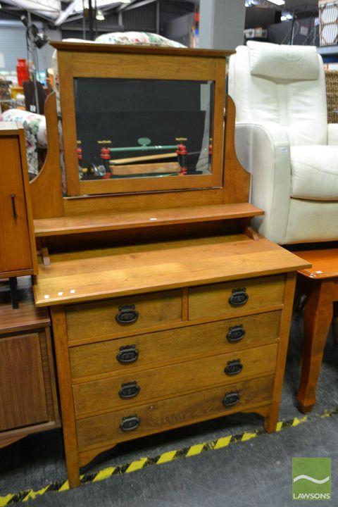 Oak Mirrored Back Dresser