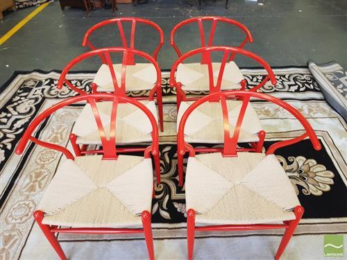 Set of Six Red Metal Wishbone Back Chairs