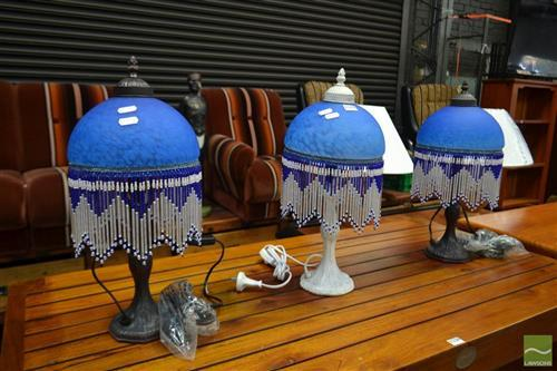 Set of 3 Glass Shade table Lamps