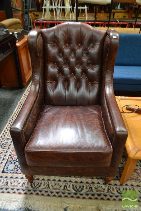 Leather Wingback Armchair