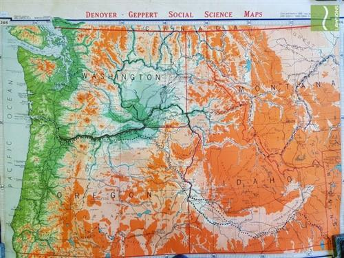 Vintage Canvas Map of Americas Pacific North West