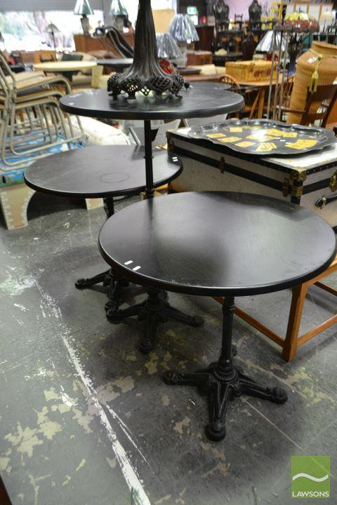 Pair of Timber Top Cafe Tables on Cast Iron Base Together with Bar Table (3)
