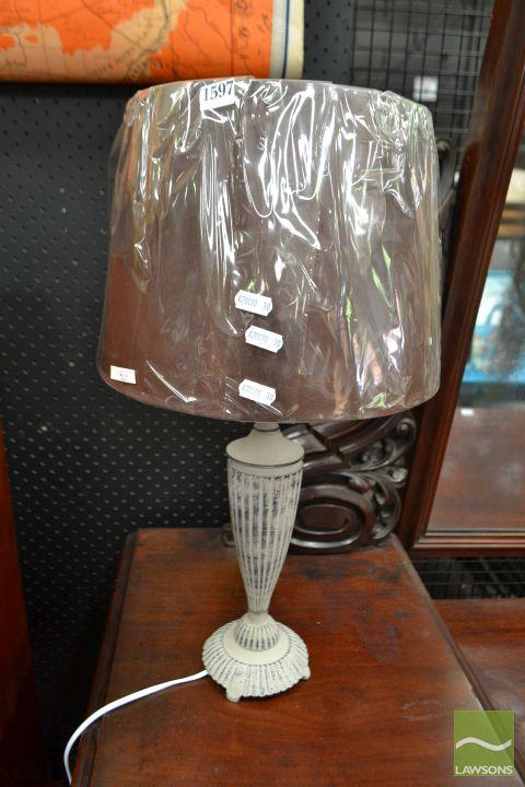 Pair of French Provincial Taupe Table Lamps (5611)