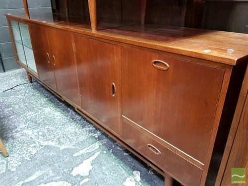 Retro Sideboard with Two Glass Sliding Doors