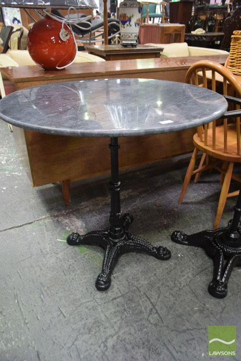 Black Waterproofed Marble Top Table on Cast Iron Base (80cm)