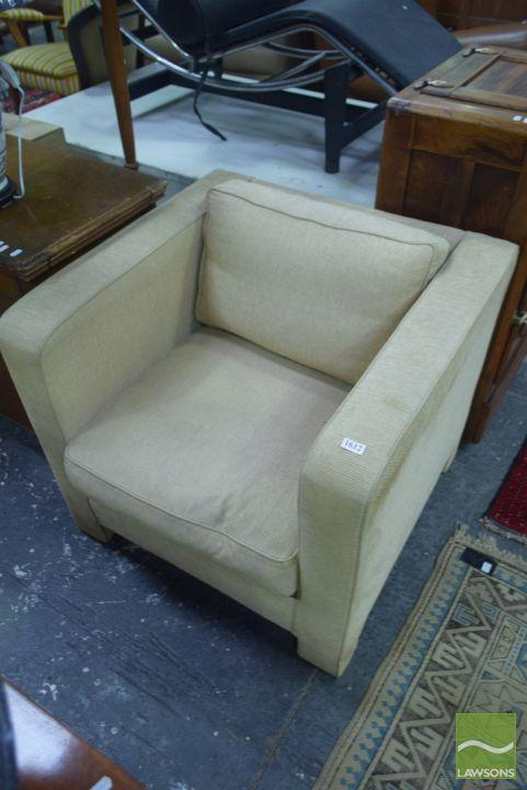 Pair of Cube Form Fabric Arrmchairs