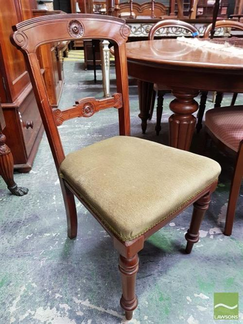 Victorian Carved Walnut Chair, with green velvet seat & turned legs