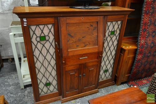 Silky Oak Drop Front Drinks Cabinet with Leadlight Doors