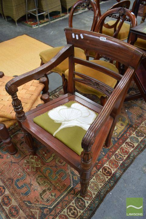 Carved Timber Paddle Back Chair