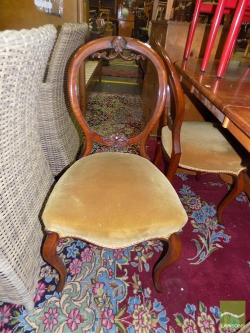 Set of 5 Victorian Walnut Balloon Back Chairs