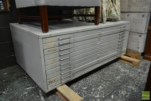 Metal Chest of Ten Plan Drawers