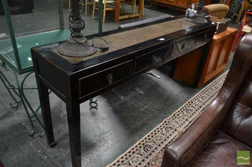 Black Laquered Oriental Hall Table with Four Drawers
