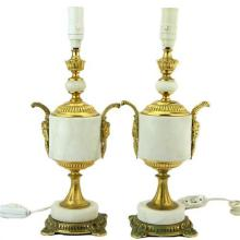 French Gilded Bronze & Alabaster Pair of Bedside Lamps