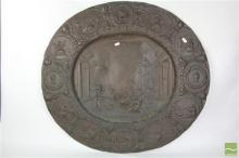 Baroque Style Oval Copper Plaque or Dish, the centre panel depicting the sciences, the border with portraits & musical allegories (b...