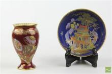 Carlton Ware Blue Pagoda Bowl & Red Floral Vase