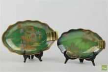 Carlton Ware Green Pagoda Dish & Another with Spider's Web