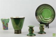 Carlton Ware Green Vase, a Bowl & a Pair of Candlesticks (one chipped)